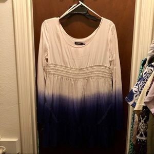 Ombré Mini Dress with Bell Sleeves